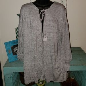 Free People We the Free Gray Soft Linen Blend Top